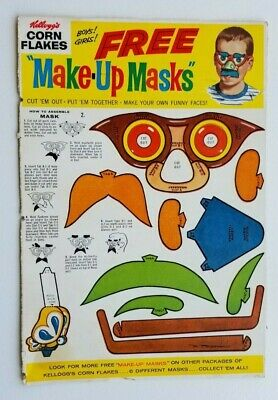 Vintage Kellogg's Corn Flakes Make-Up Mask Offer Cereal Box Back/Top