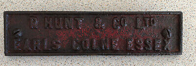 Earls Colne Essex Old Farm Machine Cast Iron Plaque R Hunt And Co OLD