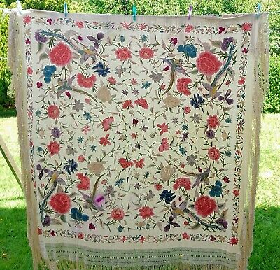 """ANTIQUE 19th C CHINESE EMBROIDERED CANTON SILK PIANO SHAWL 92"""" SQUARE"""