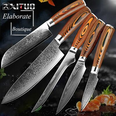 High Carbon Stainless Steel Japanese VG10 Damascus Knife Santoku Kitchen Set New