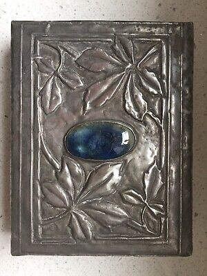 Rare Early Liberty & Co Arts & Crafts Pewter box, blue Ruskin cartouche