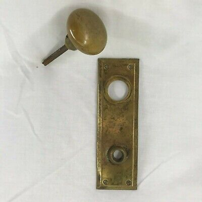 "Vintage 1920's Brass Door Knob Exterior/Interior 8"" Back plate for lock cylinder"