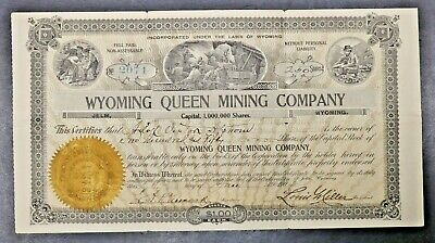 1904 Wyoming Queen Mining Company Stock Certificate for 250 Shares