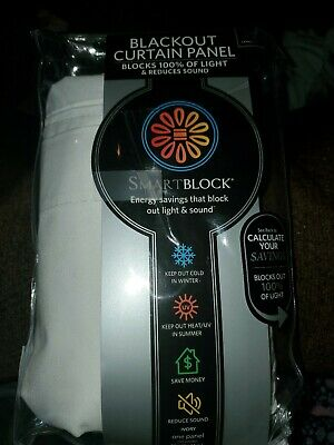 "SmartBlock Chroma 63"" Rod Pocket 100% Blackout Window Curtain Panel in White"