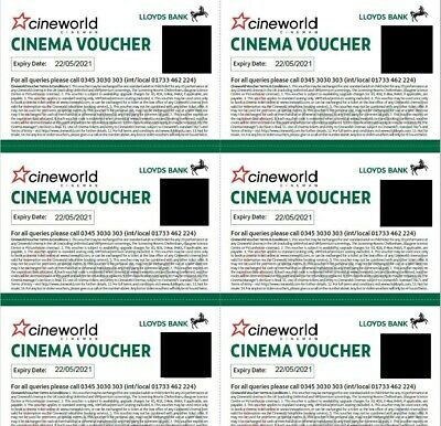 By Email 6x (SIX) Cineworld Cinema Tickets from Club Lloyds Expiry May 2021