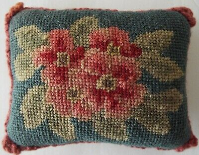 Antique Needlepoint Pin Cushion Pillow with Pink Flowers on Green Background