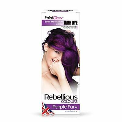 Rebellious Colours 100% Vegan Semi Permanent Hair Dye Colour 70ml (Purple Fury)