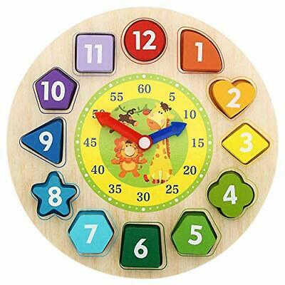 Shape Sorting Clock Wooden Teaching Learning Puzzle Educational Toys Clock with