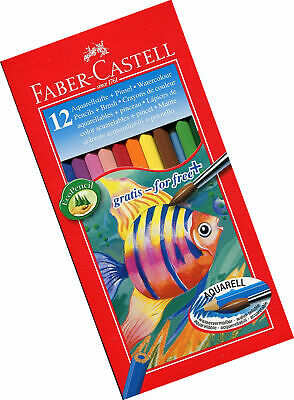 Faber-Castell Water Colour Pencils with Brush (Pack of 12 Pencils)