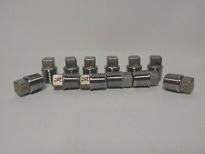 """(12) 1/4"""" Pipe Plugs 316 Stainless Steel Threaded Pipe Fittings 150#"""