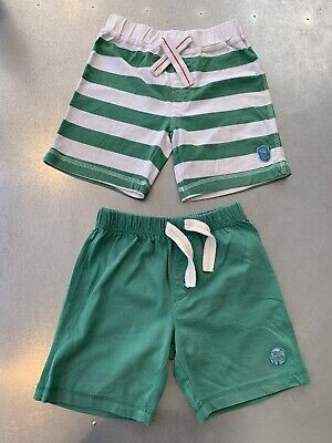 Two Pairs Of boys Green & Striped Shorts age 2 To 3 years 100% Cotton Mothercare