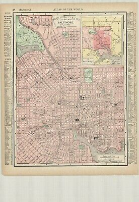 c1895 Rand McNally & Co., Map of Main Portion of Baltimore  Original Antique Map