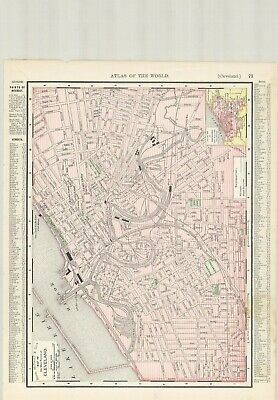 c1895 Rand McNally & Co., Map of Main Portion of Cleveland, Original Antique Map