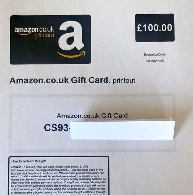 £100 Amazon Printed Gift Card Exp. 28/05/2030 Free Tracked Postal Delivery Only