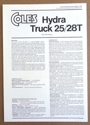 Coles Cranes 25/28T Hydra Truck Technical Specification 8124/3/76 Mar 1976