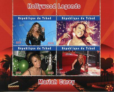 Chad Music Stamps 2020 CTO Mariah Carey Famous People Celebrities 4v M/S