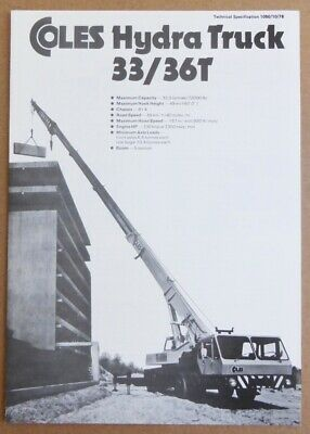 Coles Cranes 33/36T Hydra Truck Technical Specification 1050/10/76 Oct 1976
