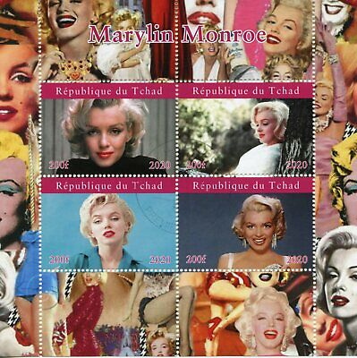 Chad Marilyn Monroe Stamps 2020 CTO Celebrities Famous People Movies 4v M/S