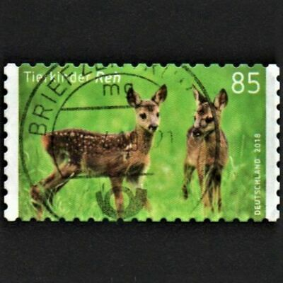 OLD STAMP GERMANY 2018 cv£5.25 YOUNG ANIMALS ROE DEER USED UNH