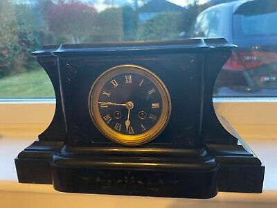 Antique 19th Century Black Marble or slate Mantel Clock