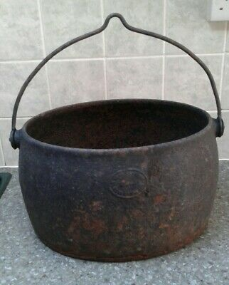 Large Antique Cast Iron Gypsy Cook Pot Cauldron Planter with swing handle A/F