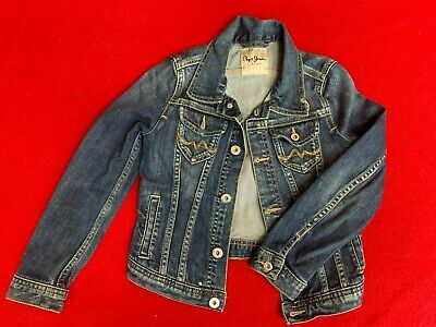 Pepe Jeans Denim Jacket.  Girls Age 8 years.  Designer, Blue, fitted