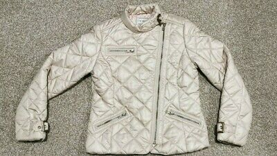 NEXT girls pearl beige quilted padded biker jacket age 9-10 -  MUST SEE