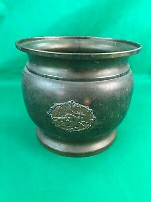 Antique Brass Hunting Stag Spittoon, Brass Pot, Man Cave, Collectible