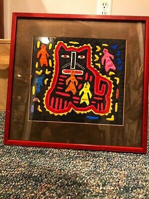 Panama Art Voodoo Framed Textile Awesome Piece! Breathtaking. See Description...