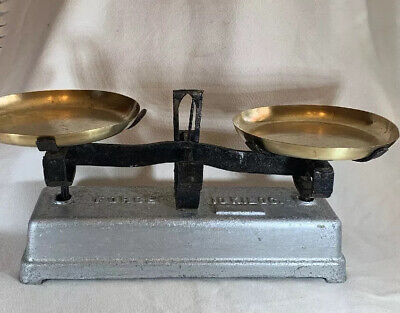 Vintage French FORGE 10kg Cast Iron & Brass Retail/Warehousing Balance Scales
