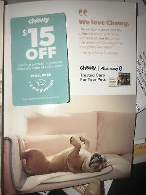 Chewy.com Offer $15 Off $49 1st Order No SHPG Charge Exp 8/31/20 Pet Supplies