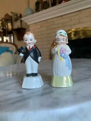 Antique Porcelain Bride And Groom Set Figural Tape Measure