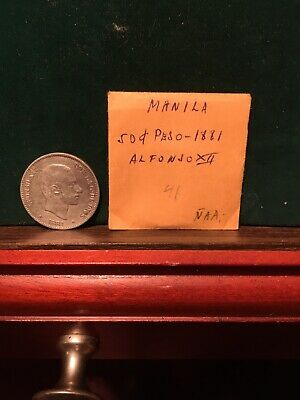 Philippines Manila Silver 1881 Coin 50 Cent Alfonso 12 No Reserve Great Detail