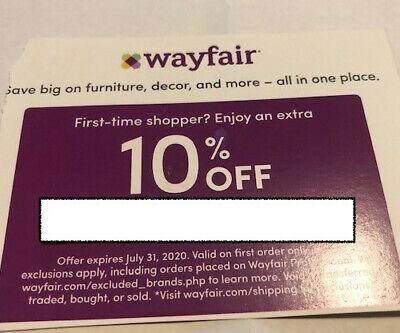 WAYFAIR: 10% Off Your First Order - Coupon Expires July 31, 2020
