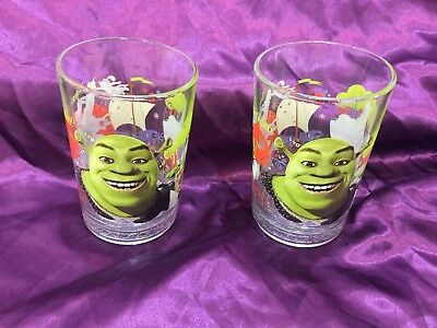 (2) McDonalds, 2007, SHREK the THIRD Collectors Glasses,  Donkey & Puss-in-Boots