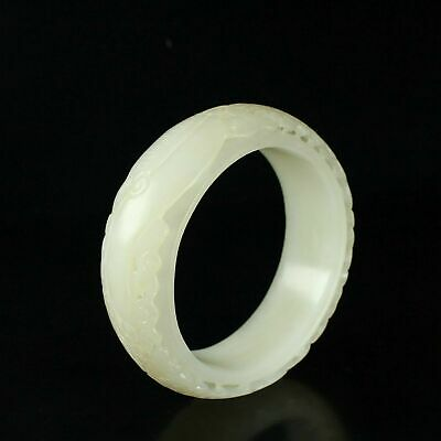 Chinese Exquisite Hand carved Hetian jade bangle 56mm