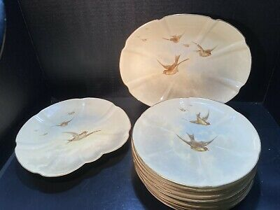 Grainger Royal China Works Cabinet Plates and Serving Platters Hand-Painted Bird