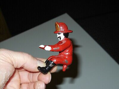 Cast Iron Reproduction Fireman Fits Some Antique Hubley Fire Horse Drawn Toys