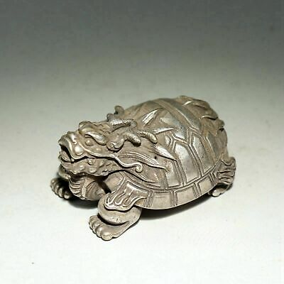 Collectable China Old Miao Silver Hand-Carved Myth Dragon Tortoise Luck Statue