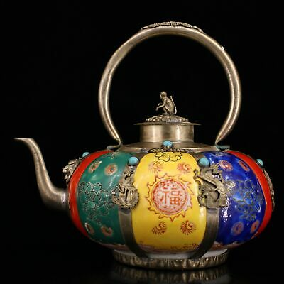 Collect Old Miao Silver Armour Porcelain Carve Myth Dragon & Monkey Luck Tea Po