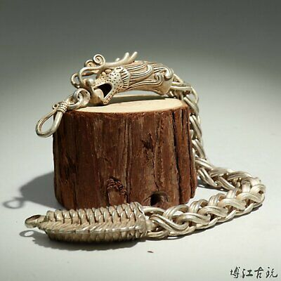 Collectable Old Miao Silver Hand-Carved Myth Dragon Moral Bring Luck Bracelet