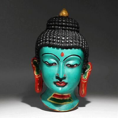 Collect Nepal Resin Hand-Carved Exorcist Delicate Buddha Head Buddhism Statue