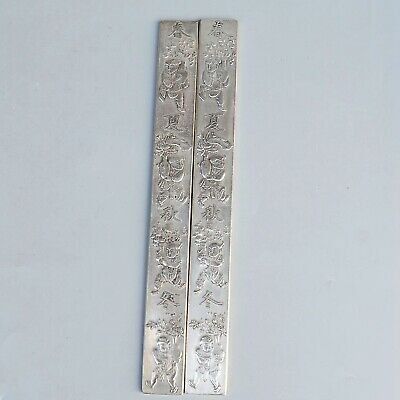 Collect Old Miao Silver Carve Chinese Characters & Fairchild Paperweight Statue