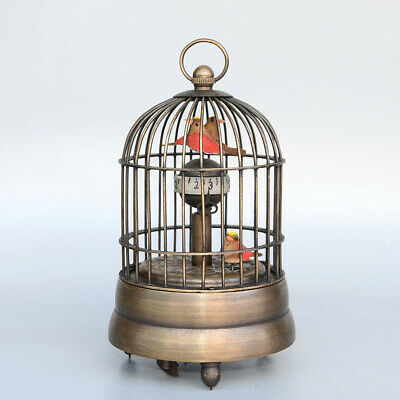 Collectable China Old Bronze Hand-Carved Unique Birdcage Statue Delicate Clock