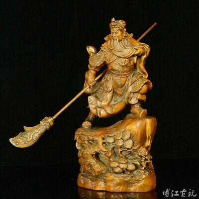 Collectable China Old Boxwood Hand-Carved Mighty General Guan Yu Souvenir Statue