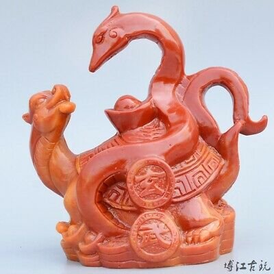 Collectable Shoushan Stone Hand-Carved Myth Animal & Treasure Auspicious Statue