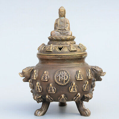 Collectable China Old Bronze Hand-Carved Eighteen Arhats Moral Exorcism Statue