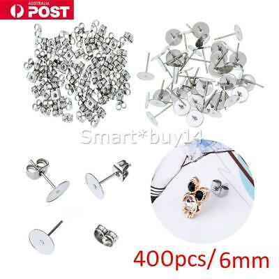 400X Earring Stud Posts 6mm Pads & Nut Backs Silvery Surgical Steel DIY Craft OZ