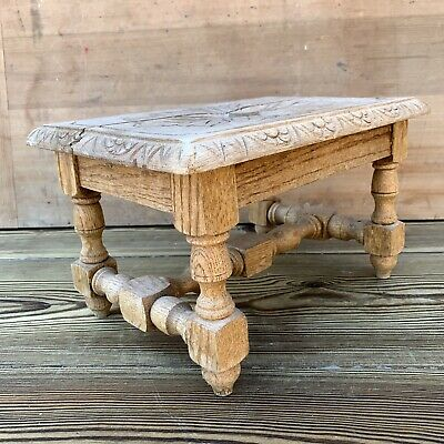 Vintage Oak Carved Turned Small Foot stool Shop Display Rustic Country Farmhouse