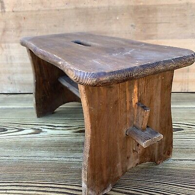 Vintage French Rustic Country Farmhouse Wooden Foot Stool Disply